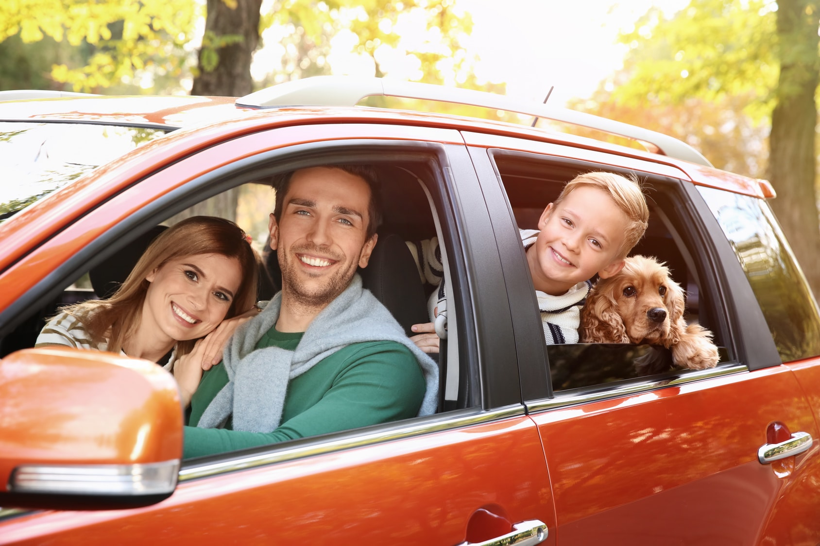 Young family with dog in car